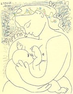 Egy rajz, melyen egy anya tartja a gyermekét szoptatás közben