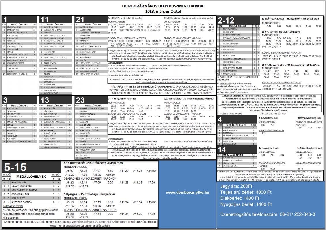 Busz menetrend Dombóvár  PDF